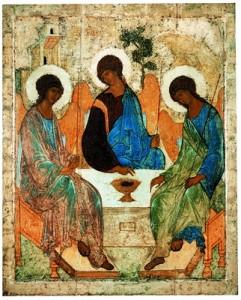 Pokloneniteo na angelite - svata troica naslikata od prep Andrej Rubljov vo XIV vek